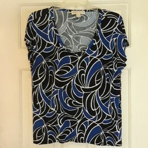 Michael Kors black royal blue white top XL